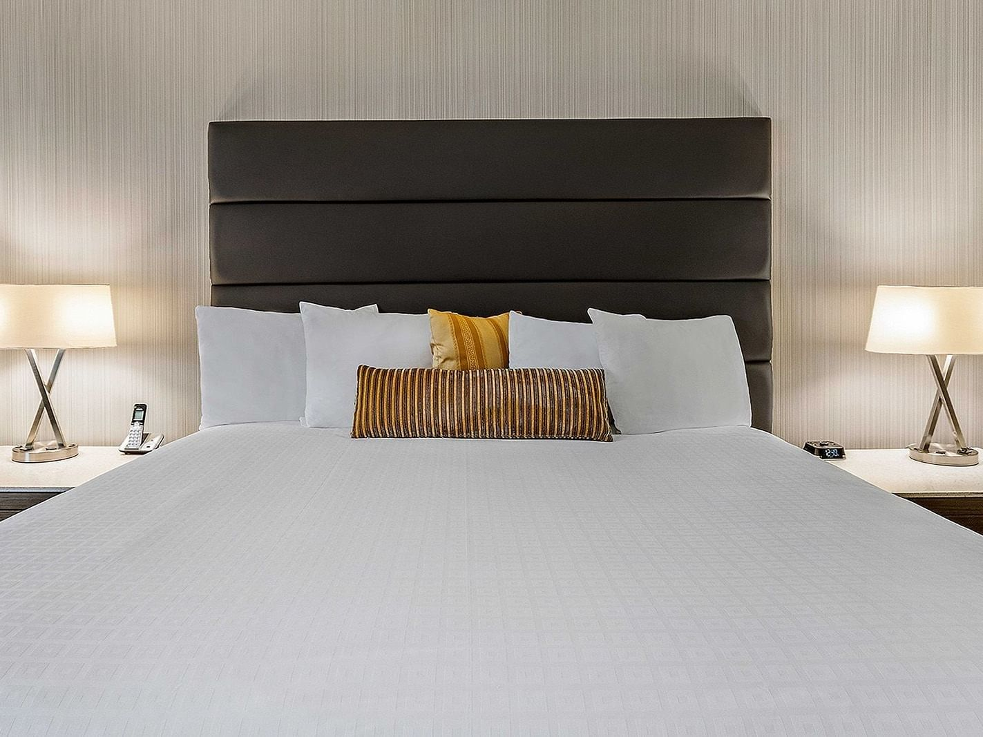 bed in modern hotel room