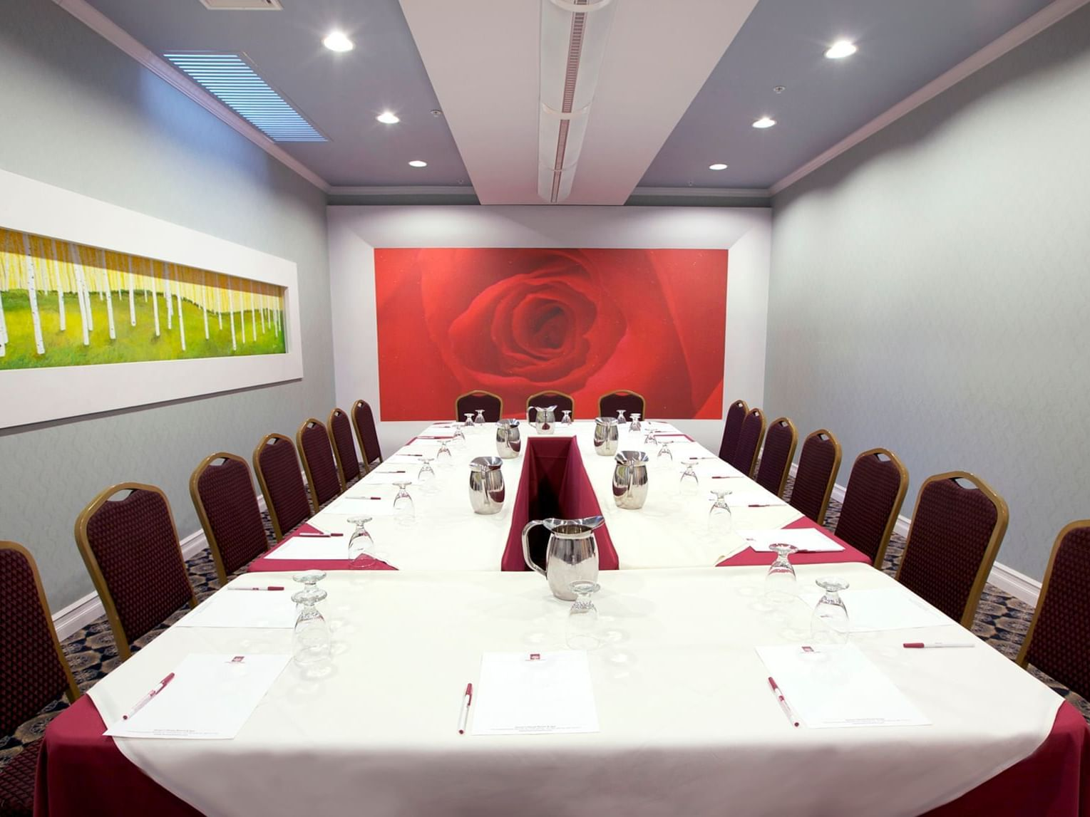 Conference table in meeting space