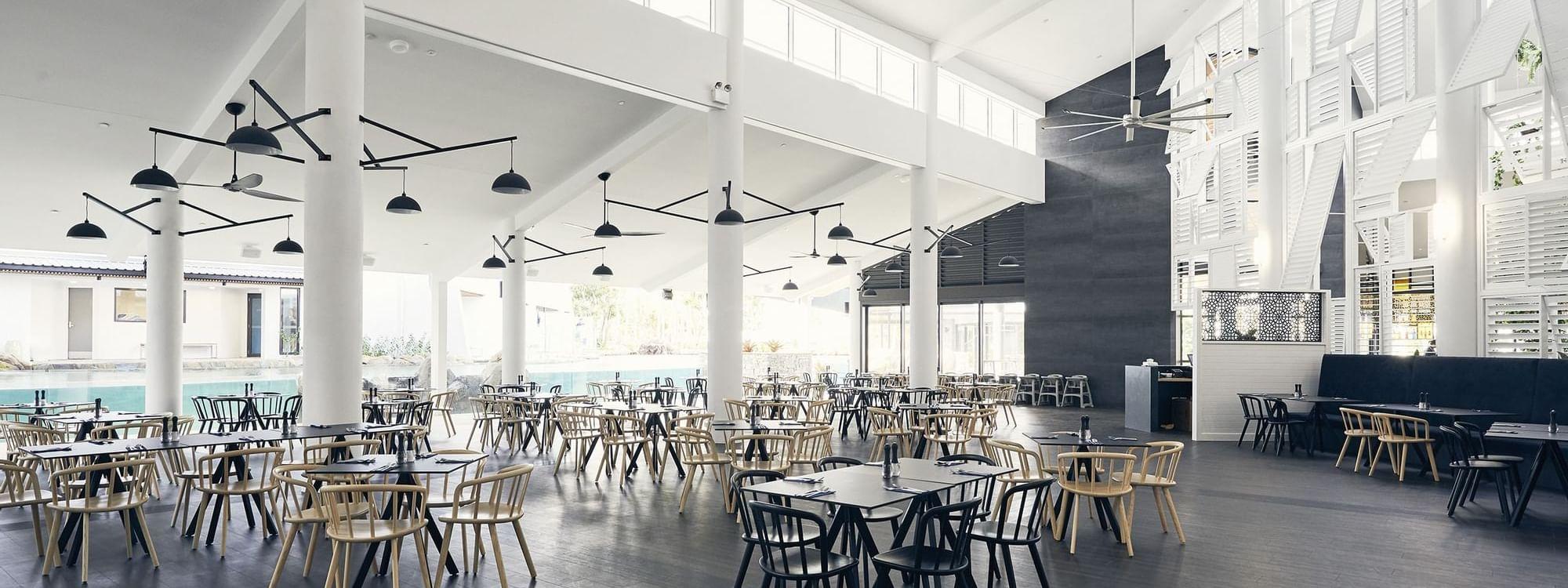 Dining tables in Graze Restaurant at Daydream Island Resort