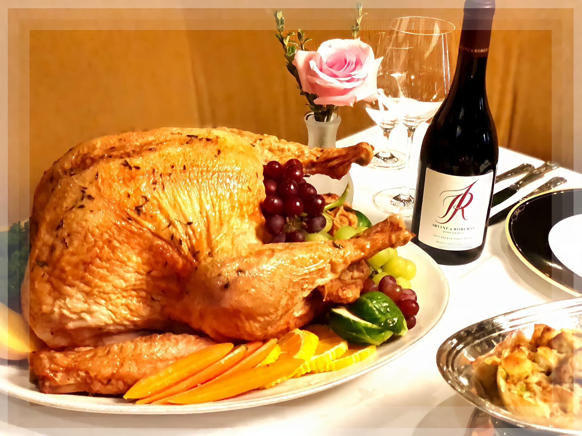 Thanksgiving Turkey and wine