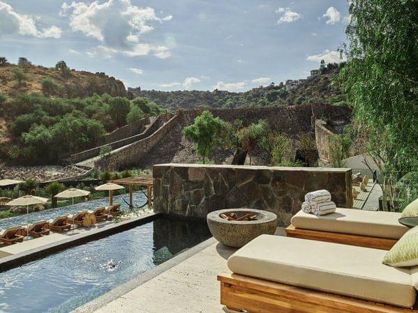 Outdoor pool area of a suite in the San Miguel de Allende city