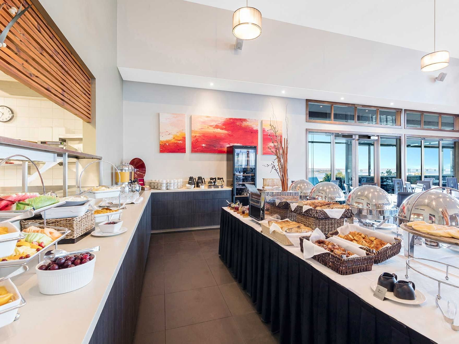 buffet spread in Watermark Restaurant at Silverwater Resort