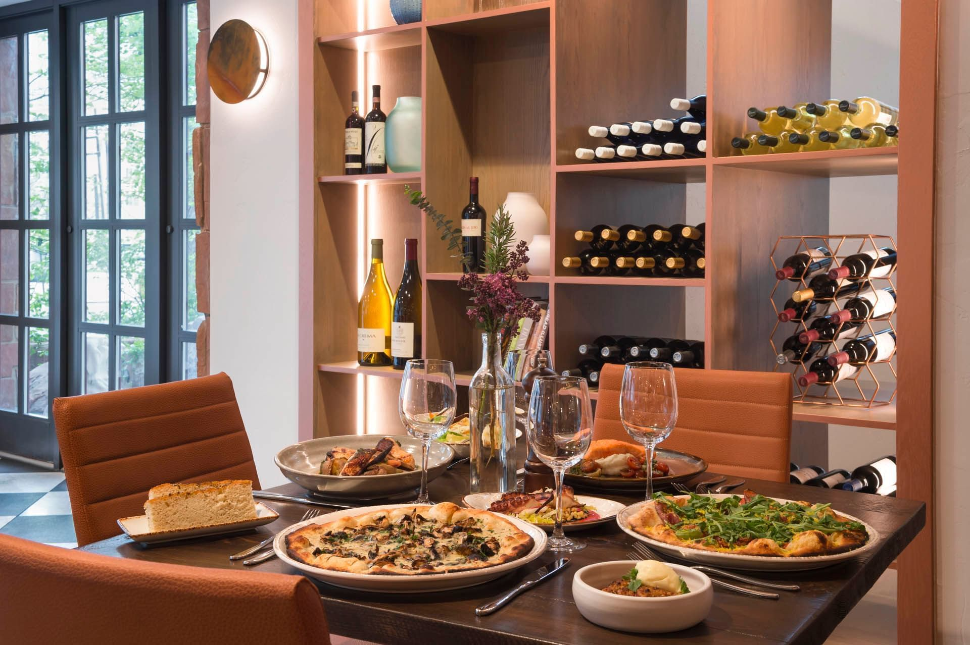Gattara Restaurant Table with Food for 4 People