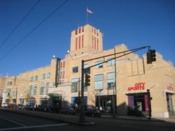 a large building on a street corner
