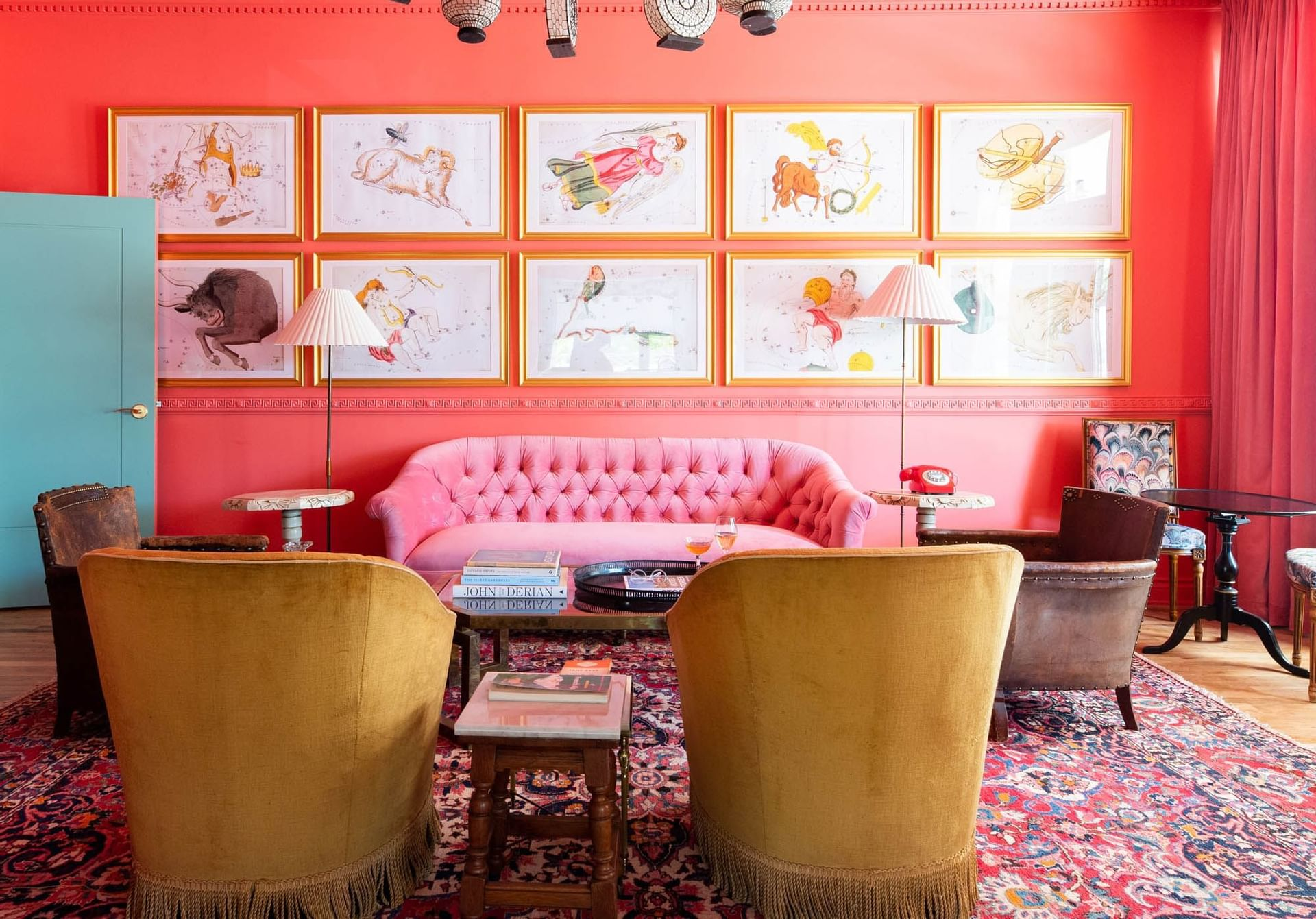 bright red lounge area