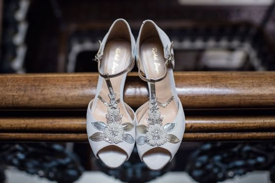 Wedding shoes at The Grand Brighton in East Sussex, United Kingd