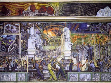 painting of people working in a factory