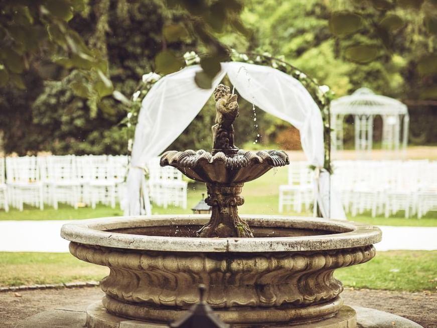 Hotel Garden Fountain at Patrick Hellman Schlosshotel