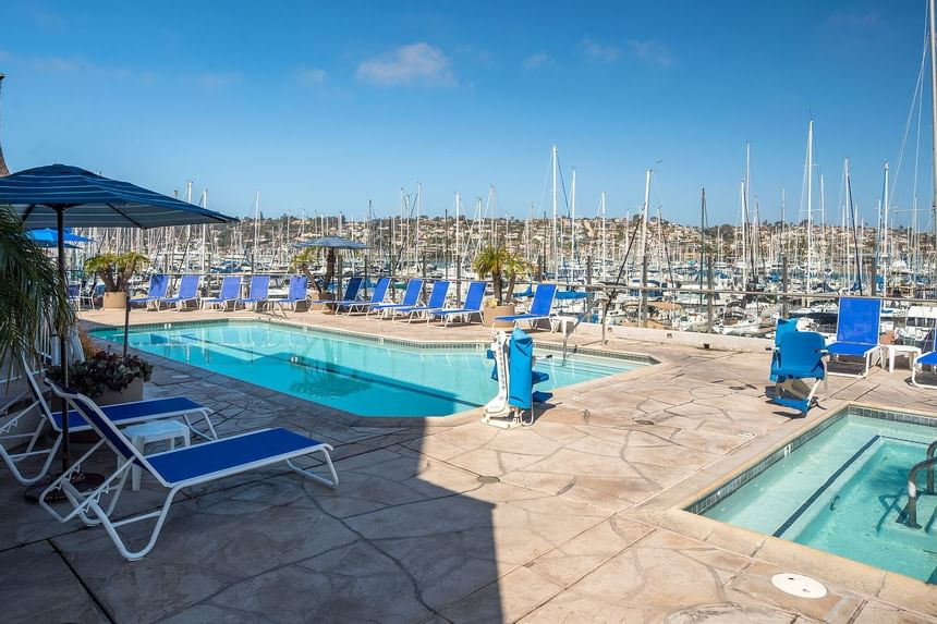 Outdoor pool & hot tub next to San Diego bay at Bay Club Hotel