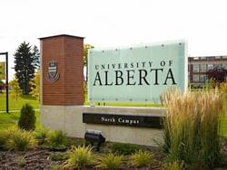 Sign of University of Alberta near Metterra Hotel on Whyte
