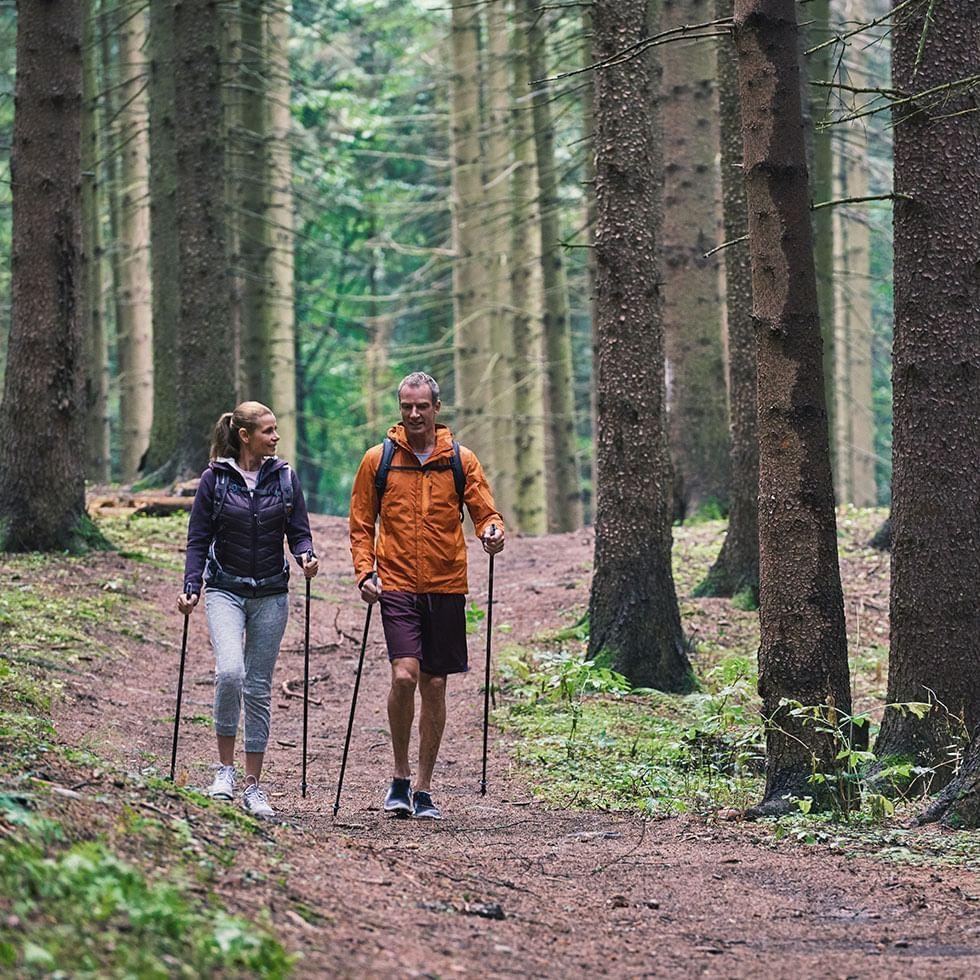 Couple walking together Forest Near Falkensteiner Spa Resort Mariánské Lázně