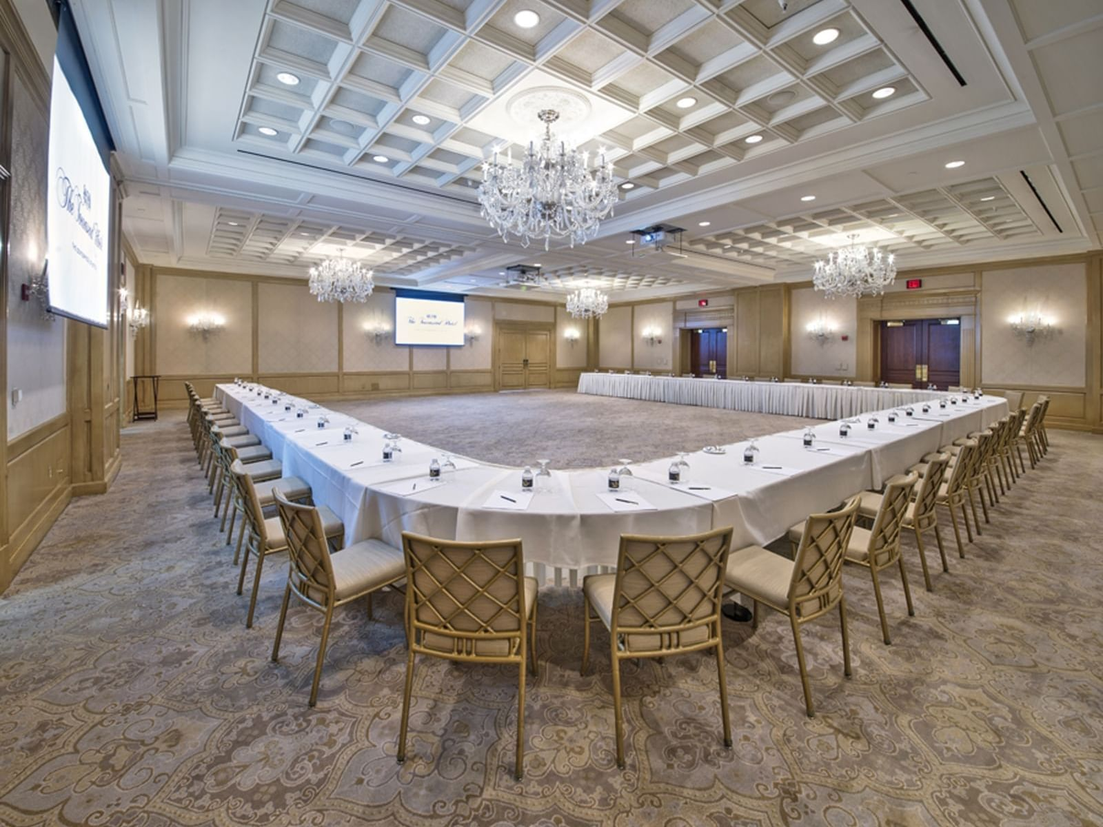 large combined table in a hotel ballroom