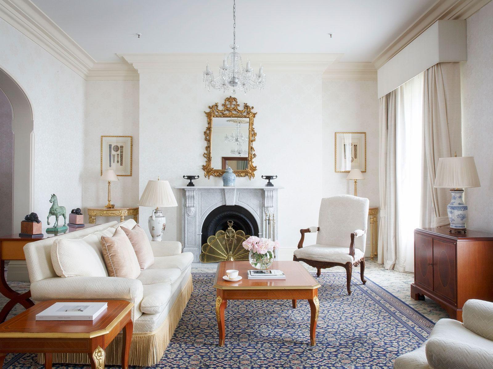 Royal Suite Living Room at The Hotel Windsor Melbourne
