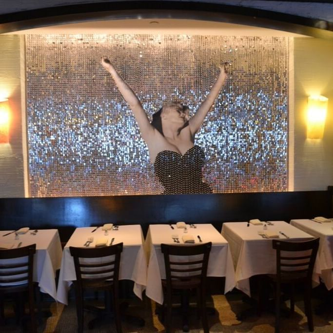 Dining area with a wallpaper in Serafina at The Time New York