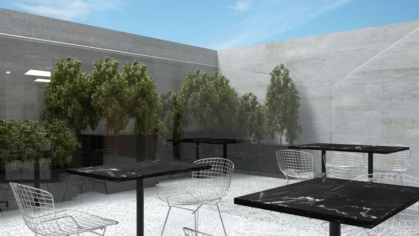 Outdoor dining area at Henn Na Hotel