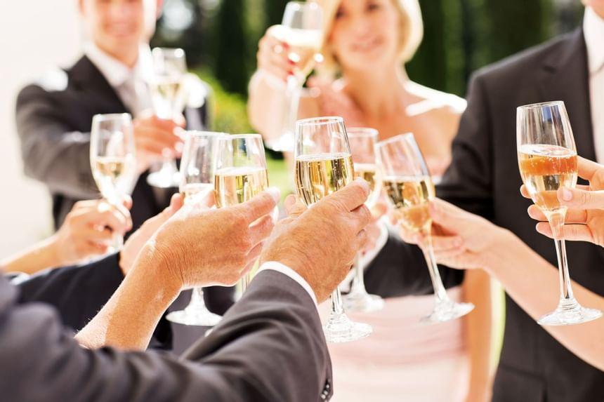 Closeup on a wedding toast at Holiday Inn Montego Bay