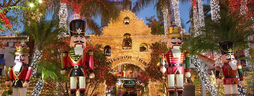 Mission Inn entrance decorated with christmas lights