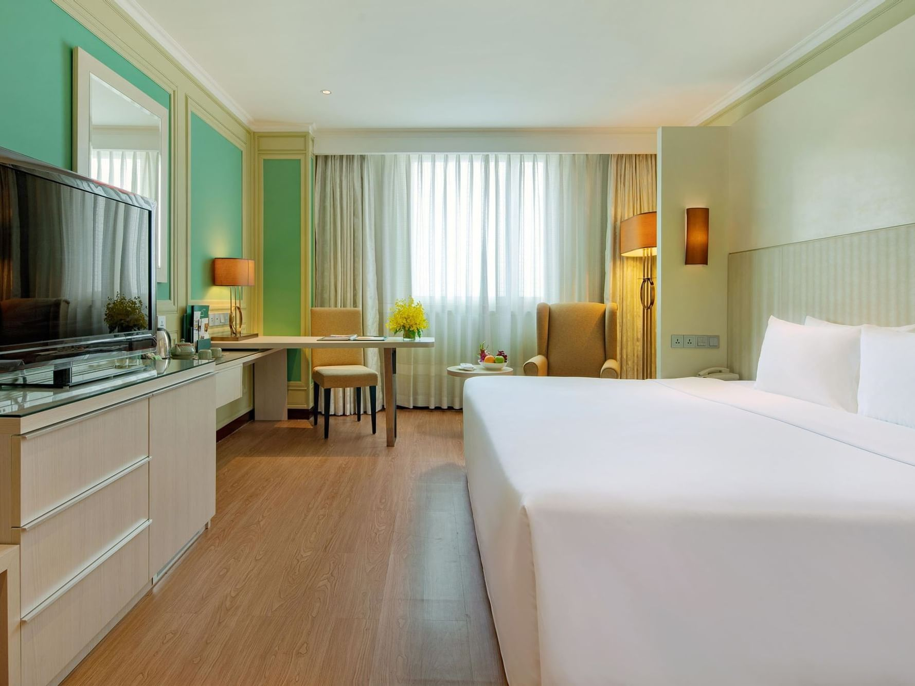 comfy hotel room with king bed