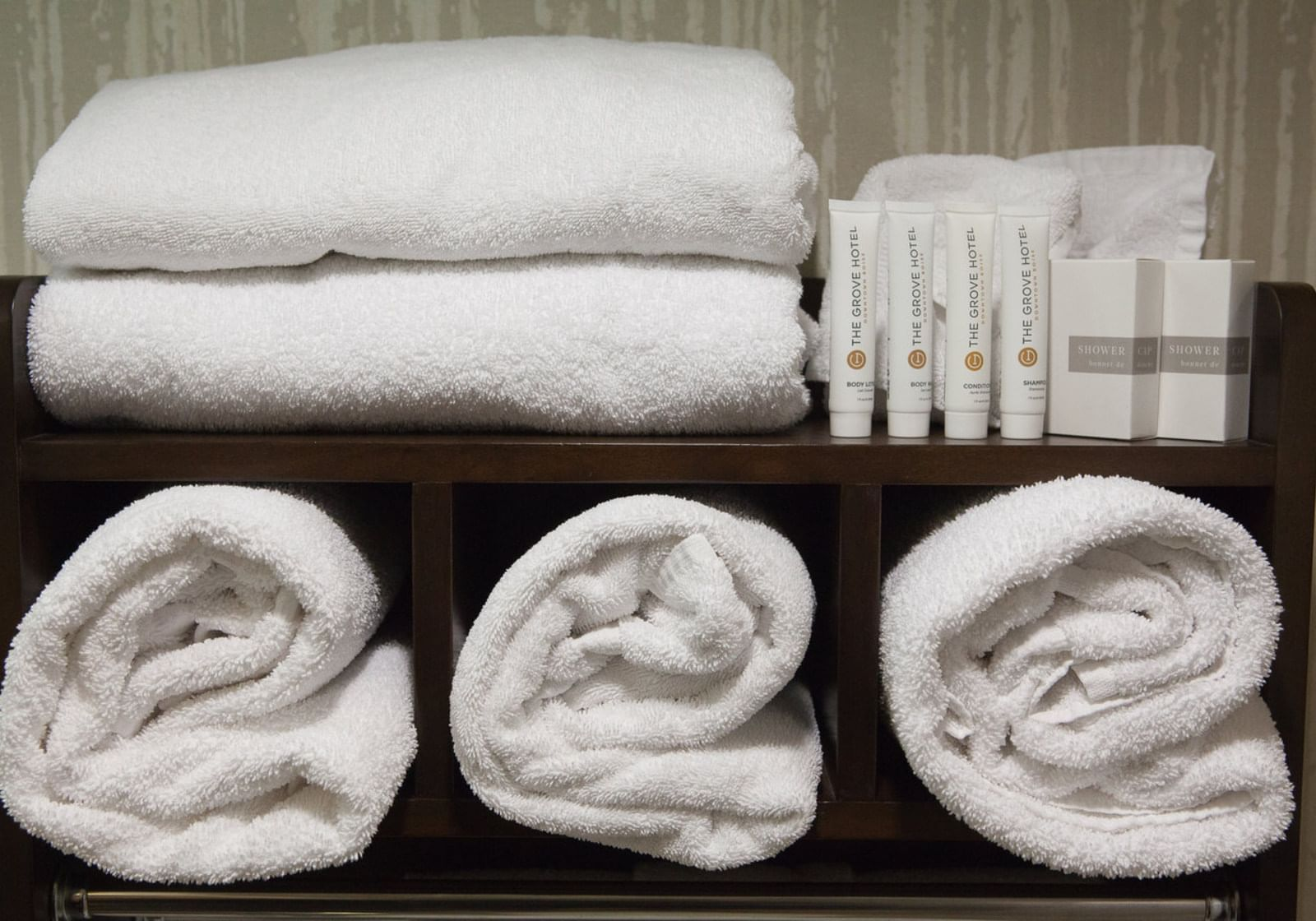 clean towels and soup on a shelf