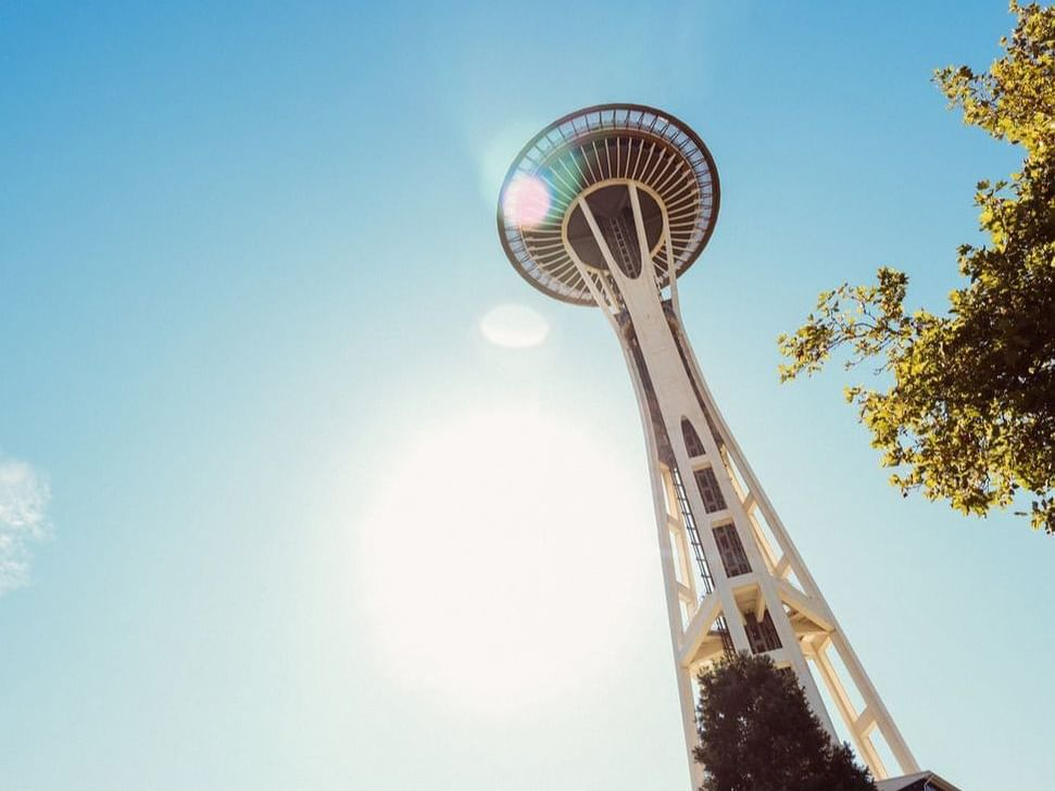 Exterior of Space Needle near Paramount Hotel Seattle