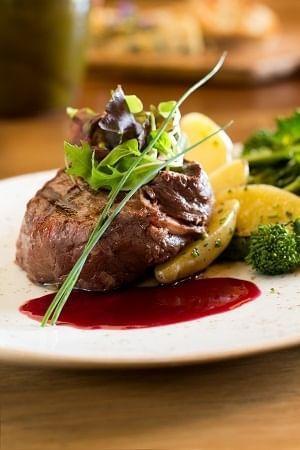 A steak dish prepared by our Cello Restaurant