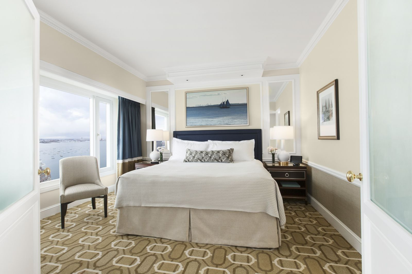 Hotel room with King bed and harbor view