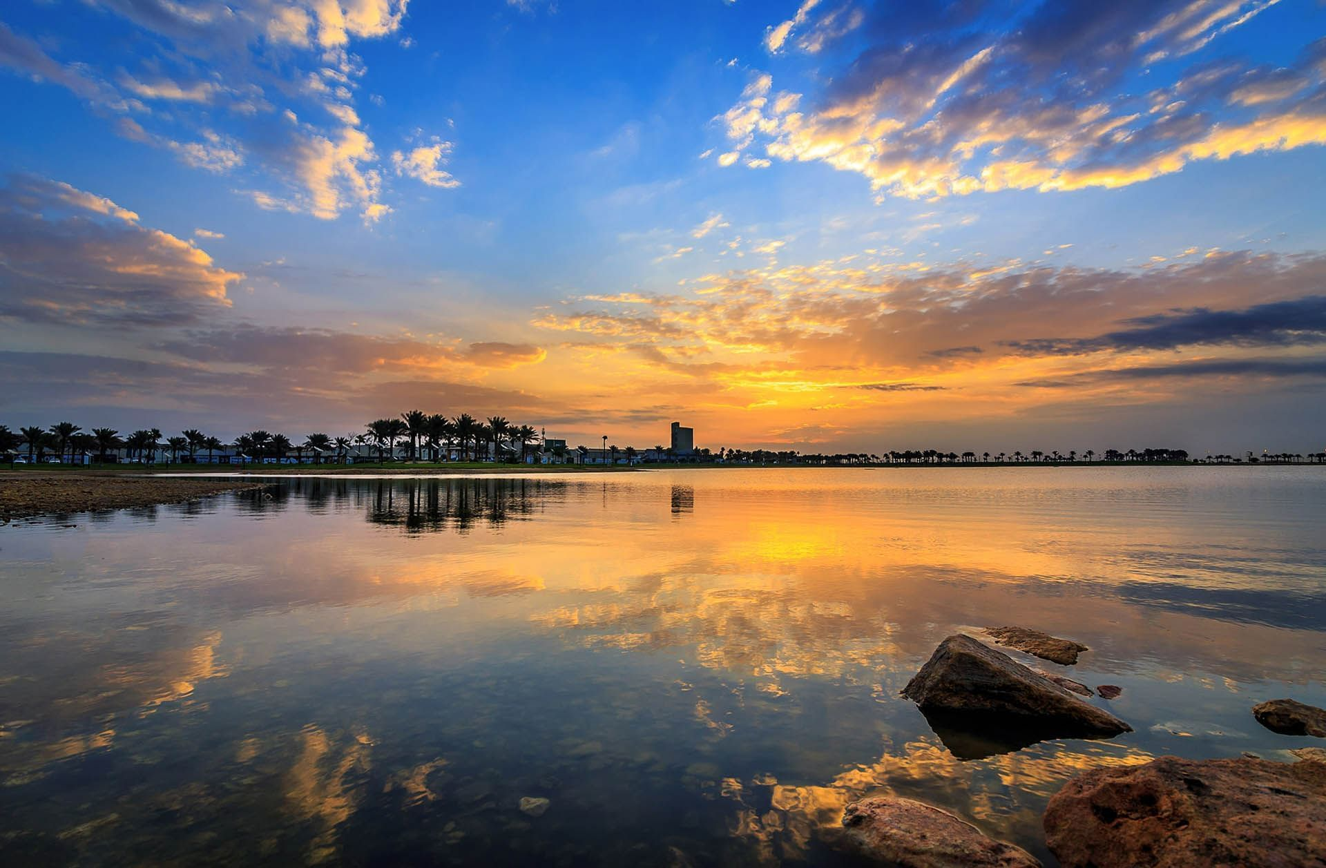 Sunrise view Modon Lake in Dammam
