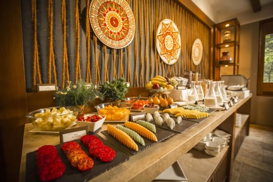 Dessert table with fruits in Qunuq Restaurant at Hotel Sumaq