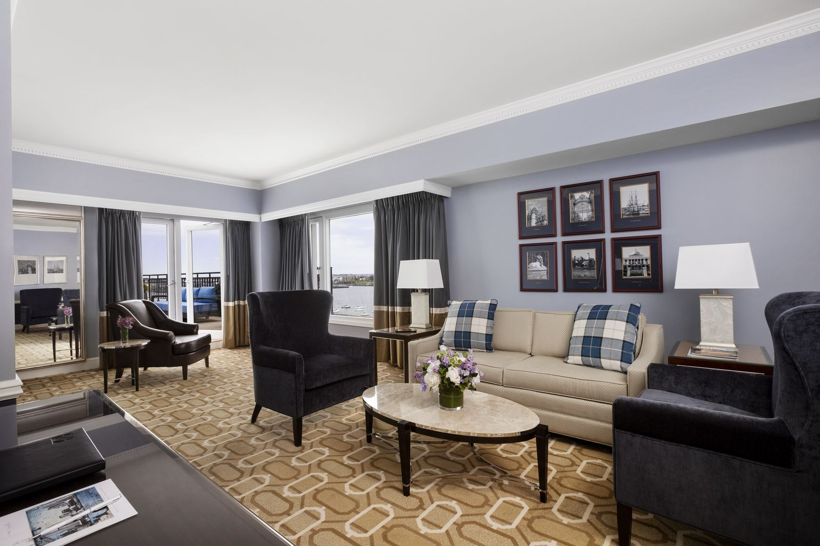 Admiral Suite living room with harbor view
