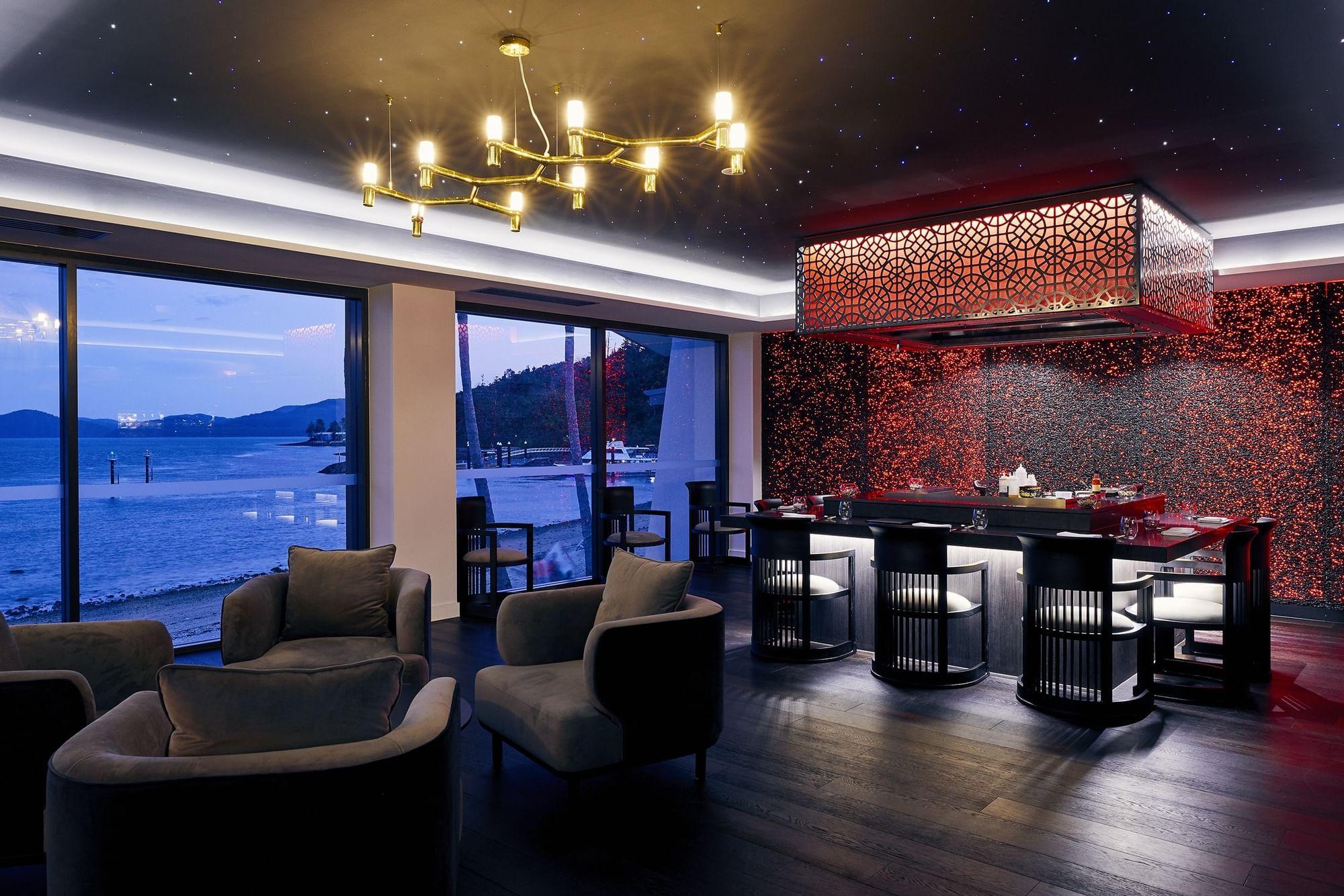 Bar area in Infinity Restaurant at Daydream Island Resort