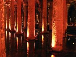 Exterior view of Basilica Cistern at night near CVK Hotels