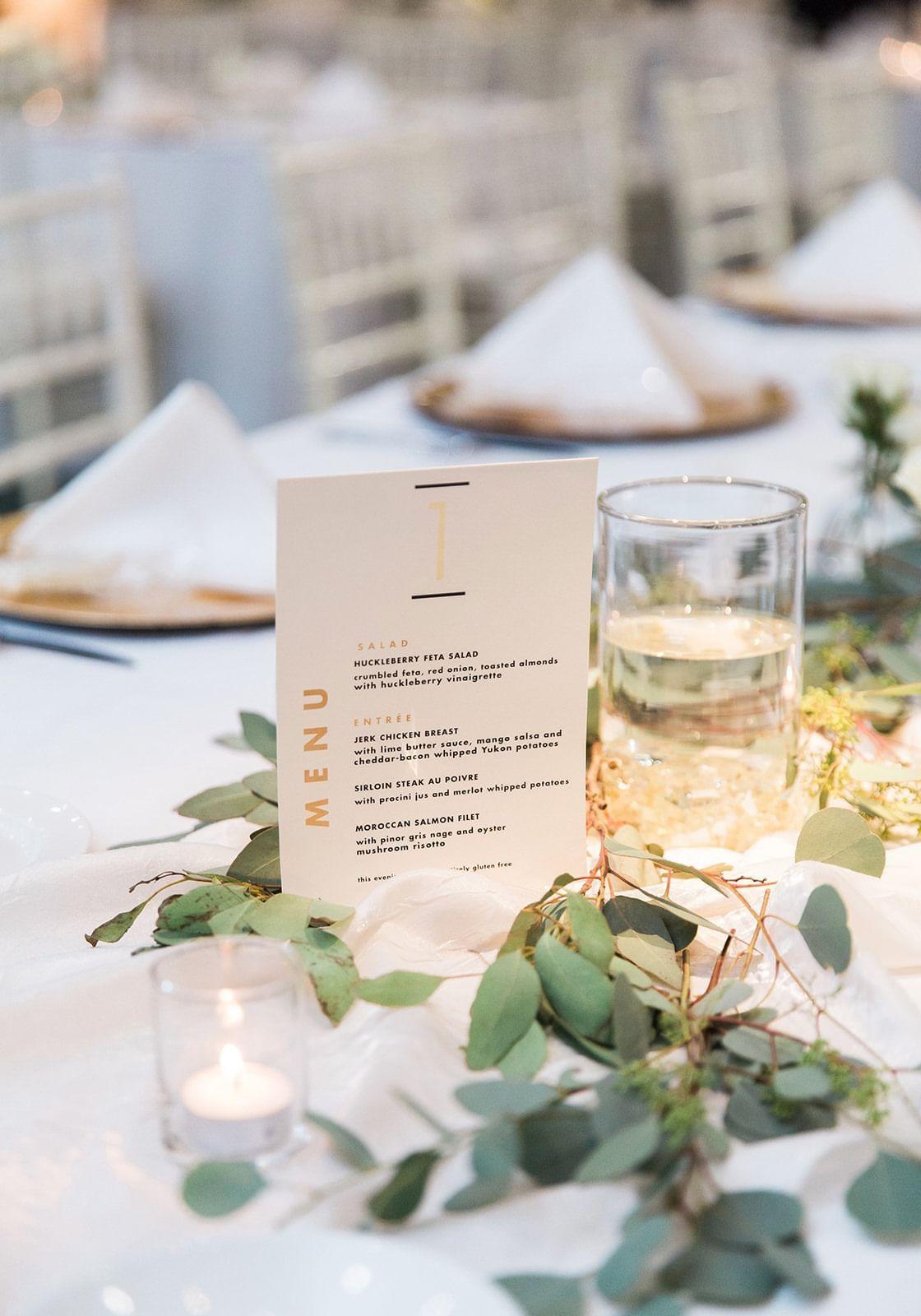 a dinner menu on a table