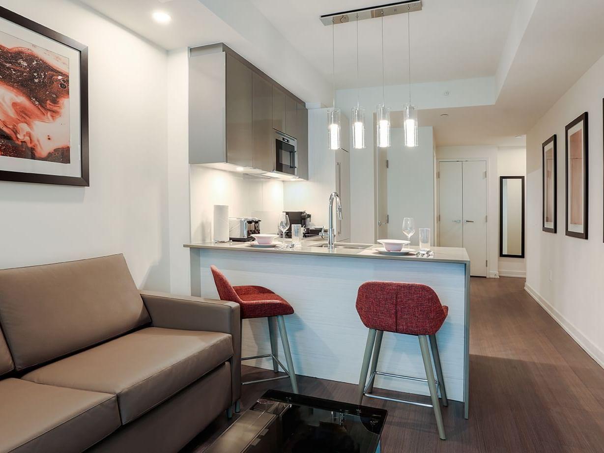 Studio living room and kitchen room
