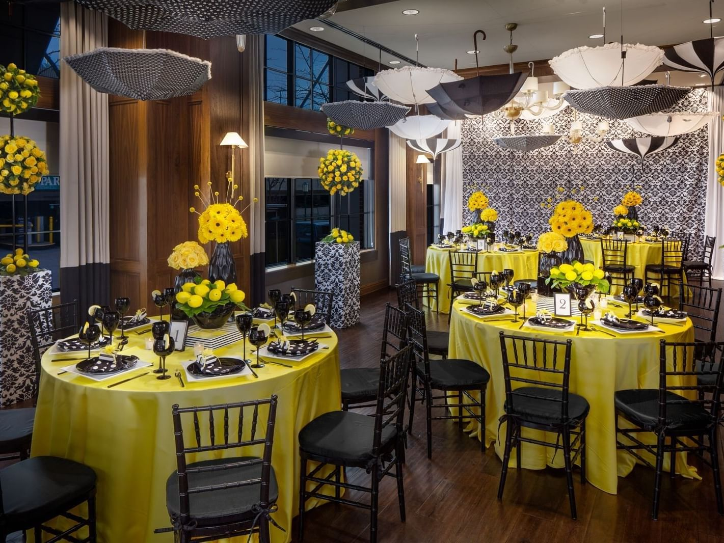 beautifully decorated tables in an event room
