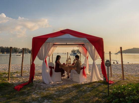 romantic dinner next to the Andaman sea at The Danna Langkawi
