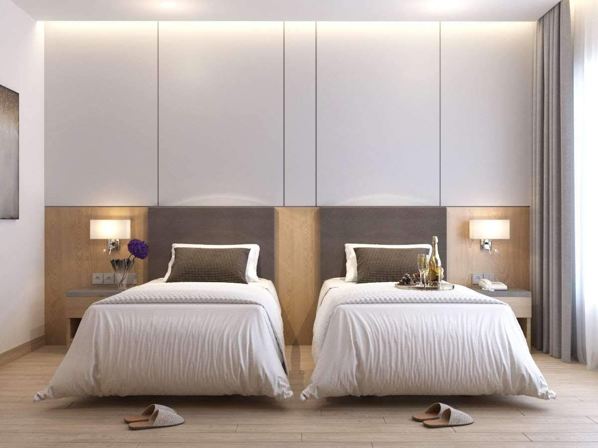 hotel room interior with twin bed and luxury furnishings