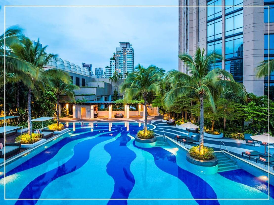 View of swimming pool at Emporium suites at Chatrium hotel