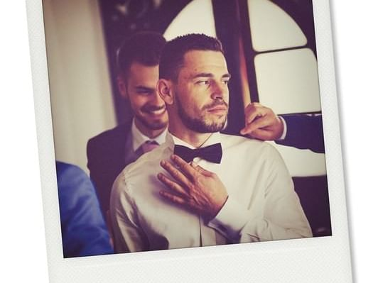 Photo Booth Image of groom getting ready at Dream Downtown NYC