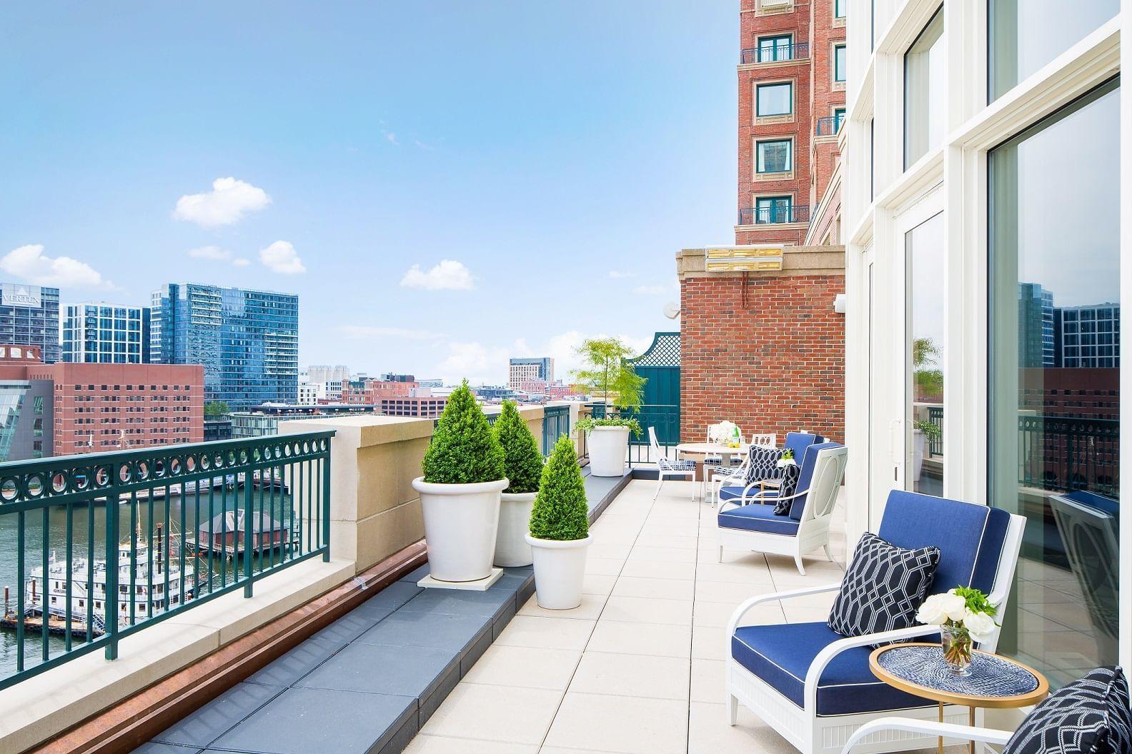 Presidential Suite terrace overlooking Boston Harbor