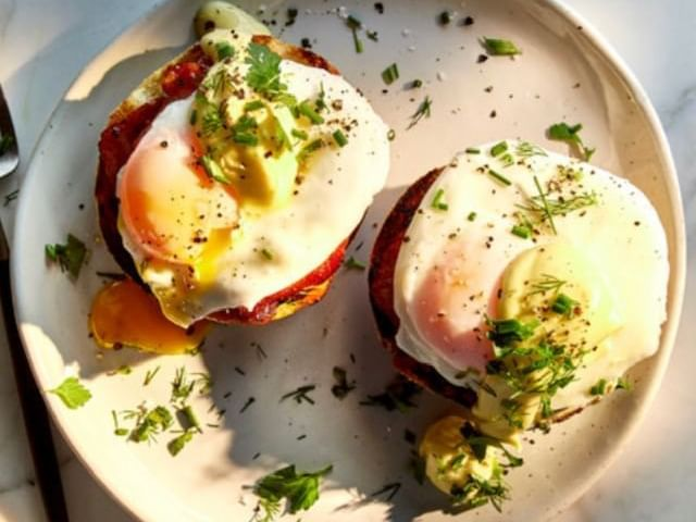 Eggs Benedict dish at Granville Island Hotel
