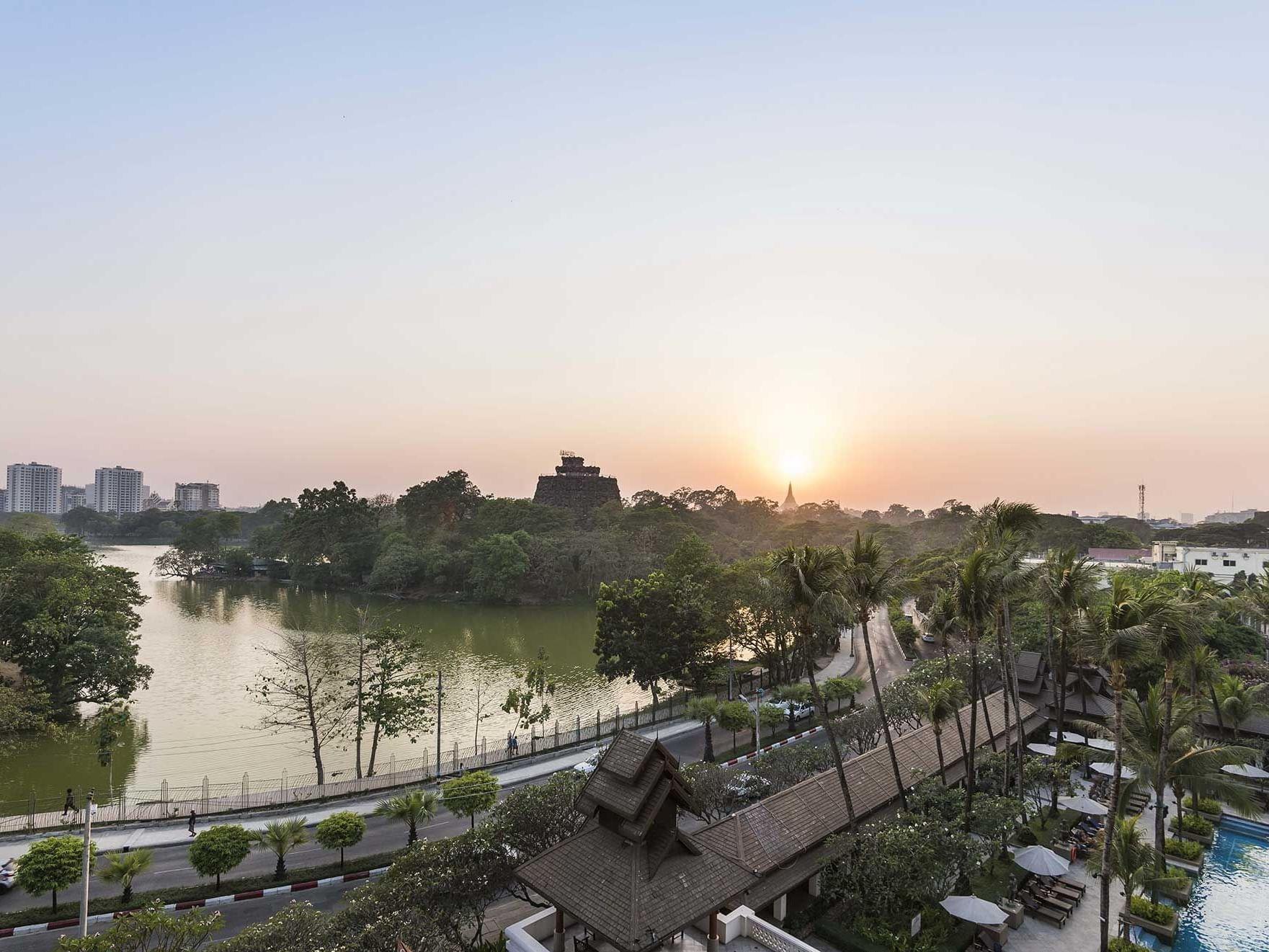 Top view of the Lake from Premier Deluxe Room Lake Or Pagoda View at Chatrium Hotel Royal Lake Yangon