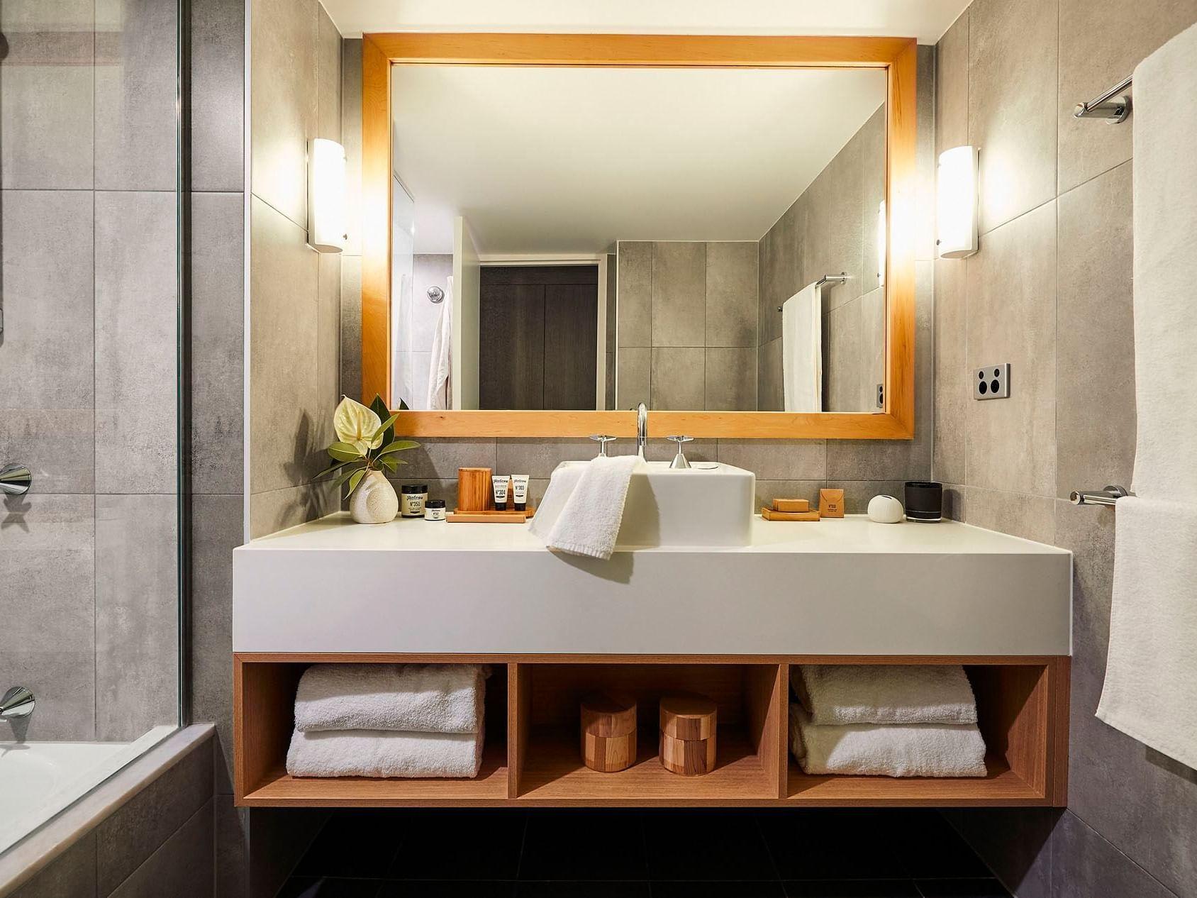 Bathroom mirror in Superior room at Daydream Island Resort
