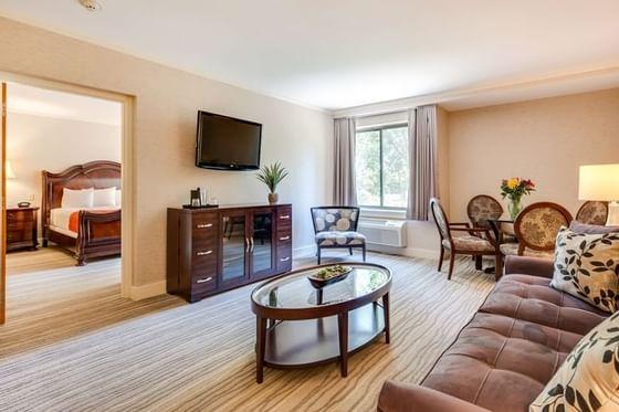 Hotel suite living room area