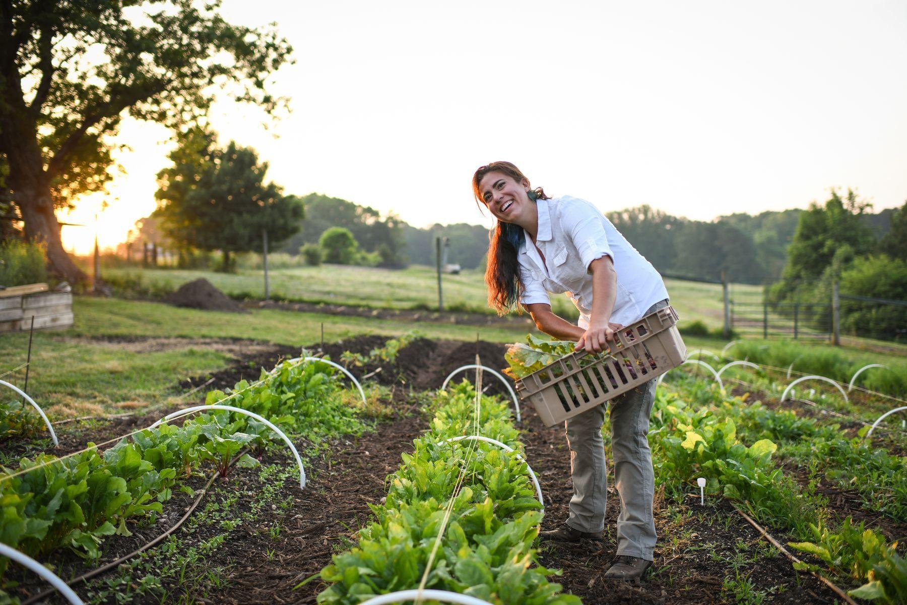 Alyssa Campo working in the farm