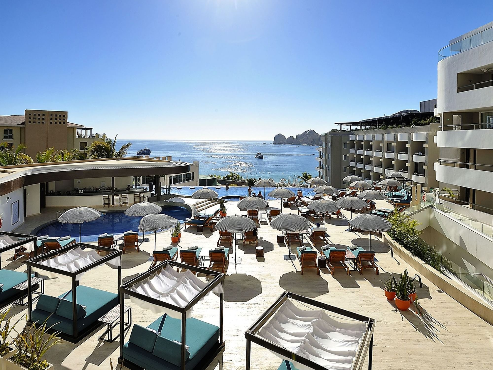 Corazón Pool Grill seating area at Cabo Villas Beach Resort