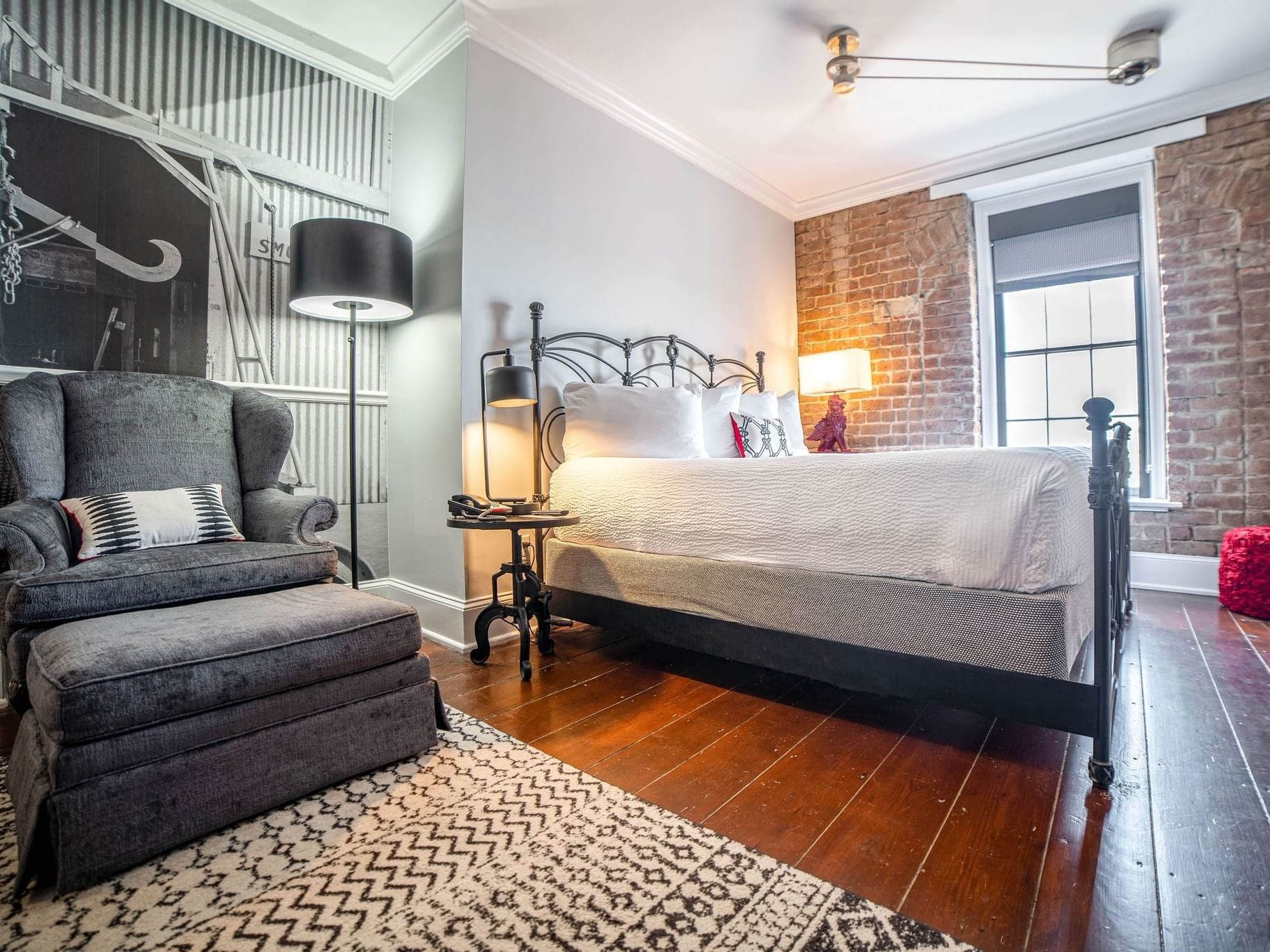 Side view of king size bedroom at River Street Inn