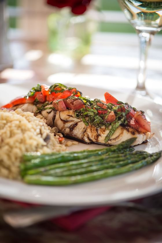Garden View Restaurant dinner plate