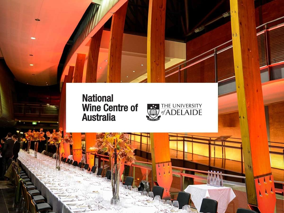 Tables arrange in  National Wine Centre and the Logo