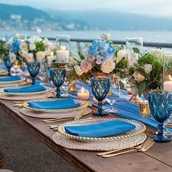 blue decoration dining place at Sunset Plaza Beach Resort