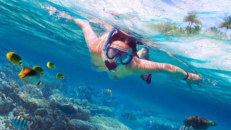 A woman snorkeling in ocean near The Reef Resorts